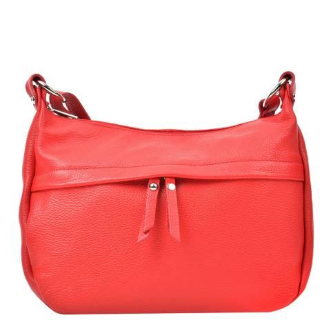 Renata Corsi Red Leather Zip Front Shoulder Bag