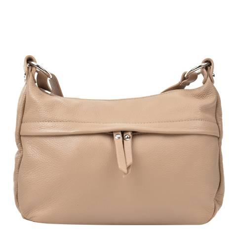 Renata Corsi Nude Leather Zip Front Shoulder Bag