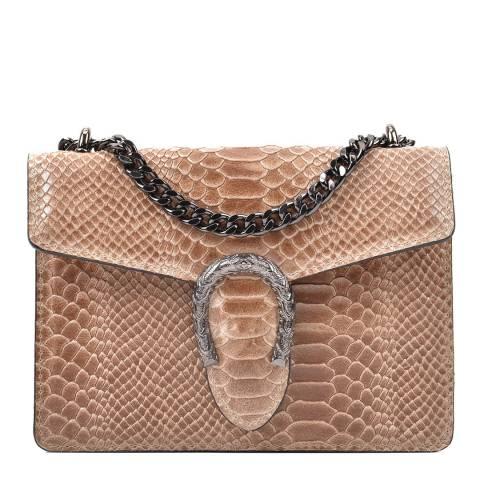 Renata Corsi Tan Leather Snake Print Horseshoe Shoulder Bag
