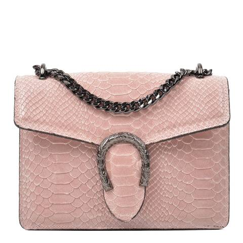 Renata Corsi Pink Leather Snake Print Horseshoe Shoulder Bag