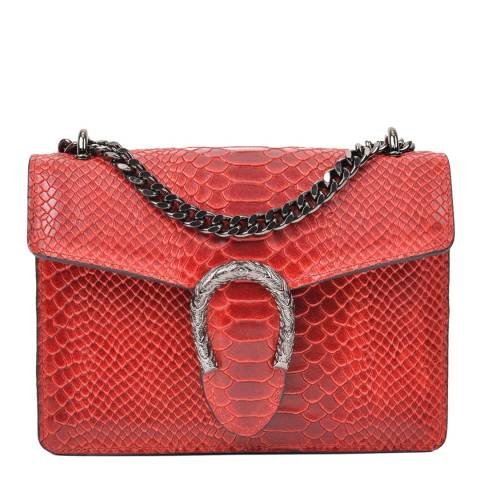 Renata Corsi Red Leather Snake Print Horseshoe Shoulder Bag