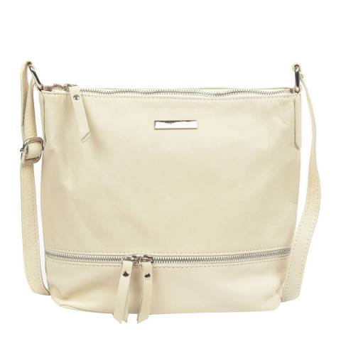 Renata Corsi Cream Leather Zip Shoulder Bag