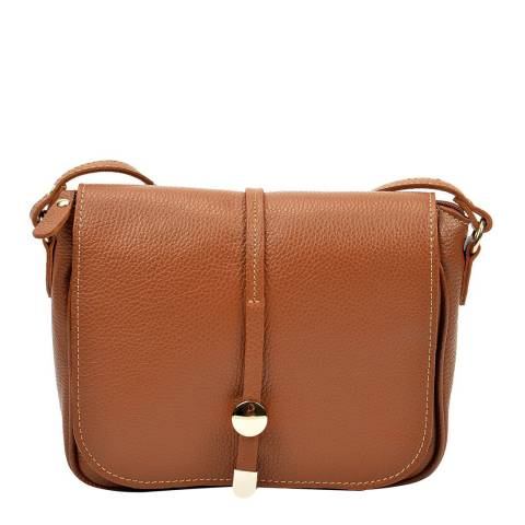 Renata Corsi Tan Leather Flap Over Shoulder Bag