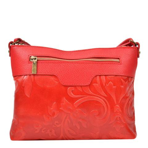 Renata Corsi Red Leather Imprinted Floral Shoulder Bag