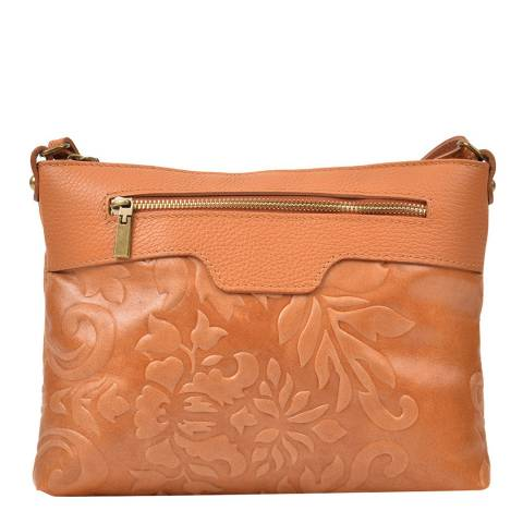 Renata Corsi Tan Leather Imprinted Floral Shoulder Bag