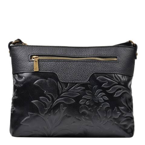 Renata Corsi Black Leather Imprinted Floral Shoulder Bag