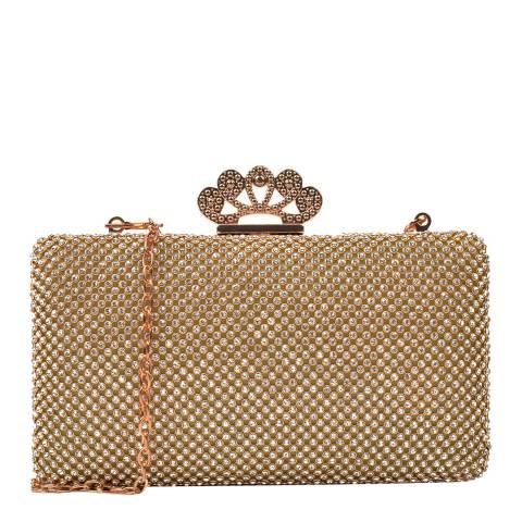 Renata Corsi Beige Gemstone Clutch Bag