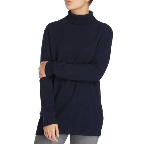 Scott & Scott London Navy Sophie Roll Neck Cashmere Jumper