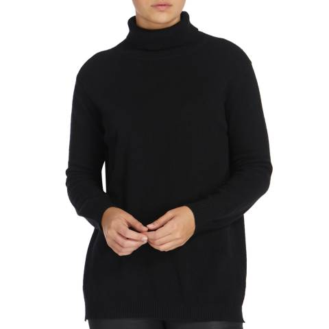 Scott & Scott London Black Sophie Roll Neck Cashmere Jumper