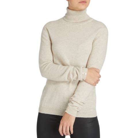 Scott & Scott London Cream Polo Neck Cashmere Jumper