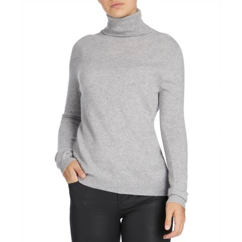 Scott & Scott London Grey Polo Neck Cashmere Jumper