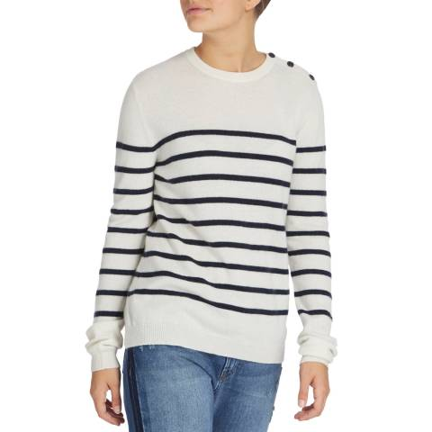 Scott & Scott London White/Navy Breton Stripe Cashmere Jumper