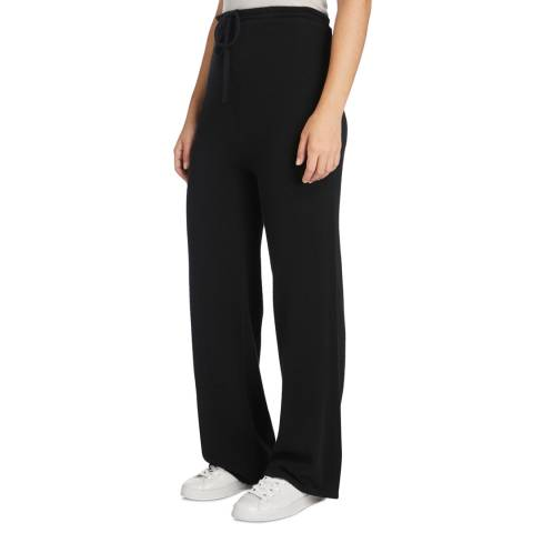 Black Wide Leg Cashmere Trousers by Scott & Scott London