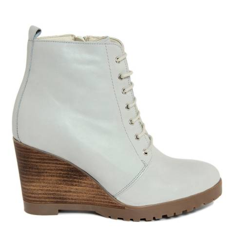 Eye Grey Leather Lace Up Wedge Ankle Boot