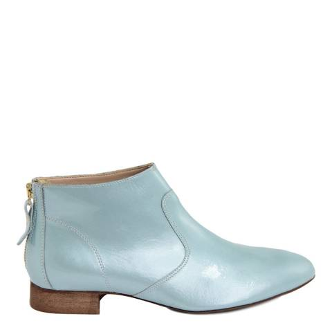 Eye Light Blue Metallic Sheen Leather Ankle Boot