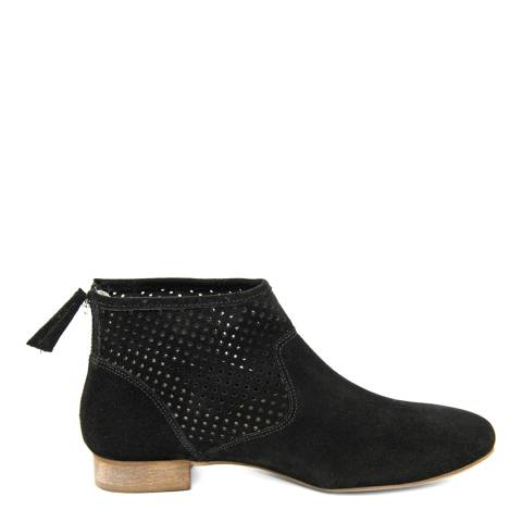 Eye Black  Suede Perforated Panel Ankle Boot