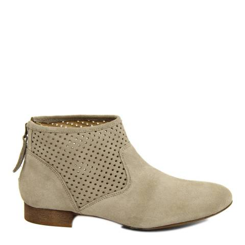 Eye Taupe  Suede Perforated Panel Ankle Boot