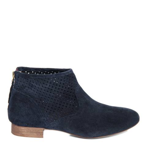Eye Navy Suede Perforated Panel Ankle Boot