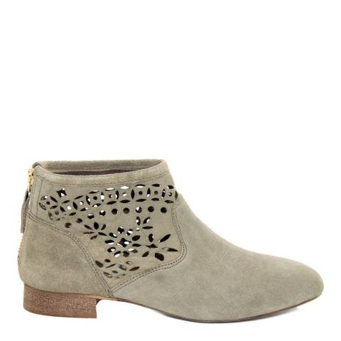Eye Khaki Suede Floral Cut Out Ankle Boot