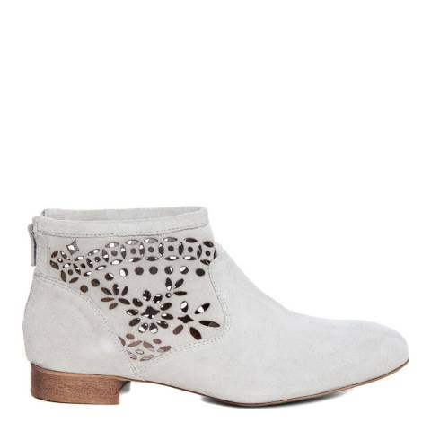 Eye Off White Suede Floral Cut Out Ankle Boot