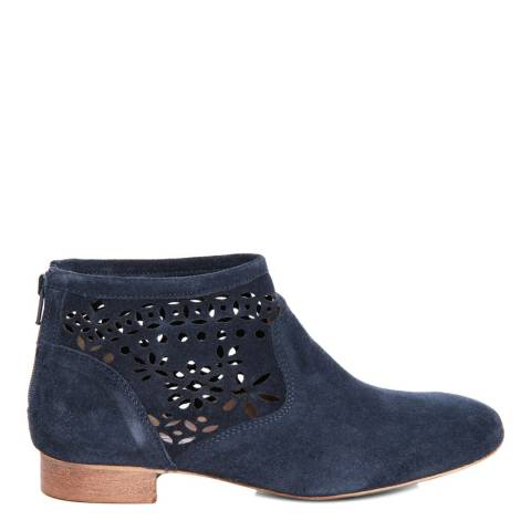 Eye Navy Suede Floral Cut Out Ankle Boot