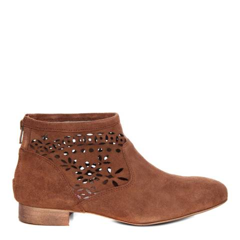 Eye Cognac Brown Suede Floral Cut Out Ankle Boot