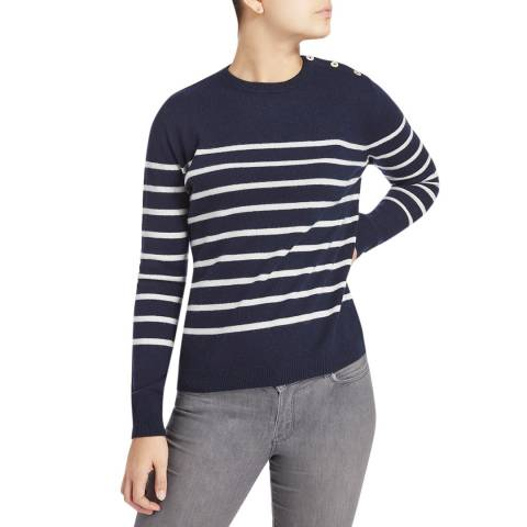 Scott & Scott London Navy/White Breton Stripe Cashmere Jumper