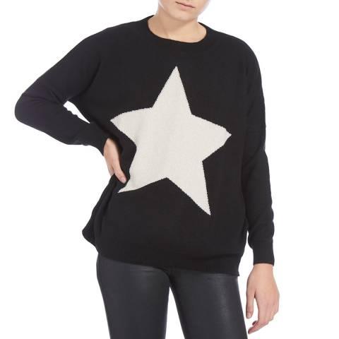 Scott & Scott London Black/White Lurex Solid Star Cashmere Jumper