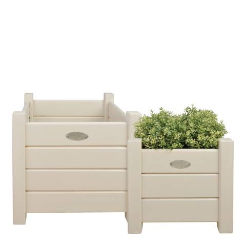 Fallen Fruits Set of 2 Cream Square Wooden Planters