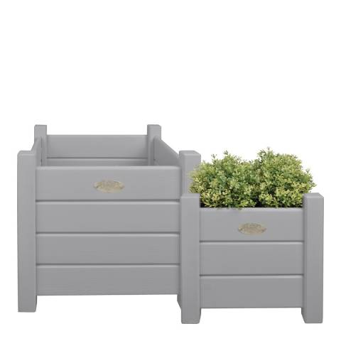 Fallen Fruits Set of 2 Grey Square Wooden Planters