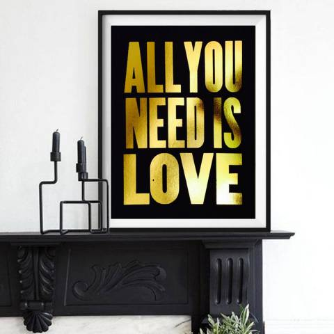 Hoxton Art House All You Need Is Love, Gold Leaf Paper Print, 30x42cm