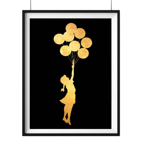 Hoxton Art House Balloon Girl Two, Gold Leaf Paper Print, 30x42cm