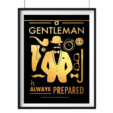 Hoxton Art House Being A Gentleman, Gold Leaf Paper Print, 30x42cm