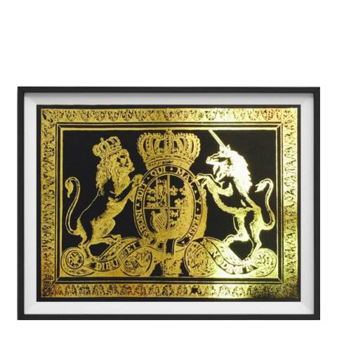 Hoxton Art House Coat Of Arms, Gold Leaf Paper Print, 30x42cm