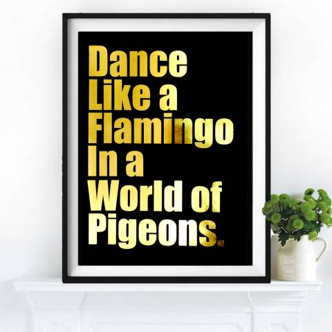 Hoxton Art House Dance Like A Flamingo, Gold Leaf Paper Print, 30x42cm