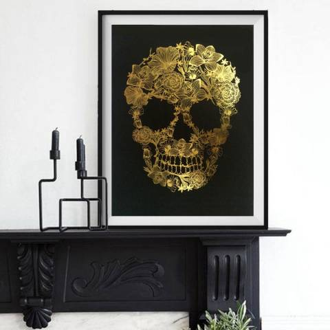 Hoxton Art House Flower Skull, Gold Leaf Paper Print, 30x42cm