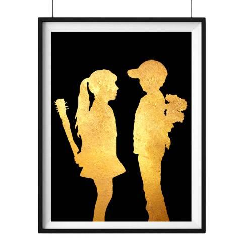Hoxton Art House Girl & Boy, Gold Leaf Paper Print, 30x42cm