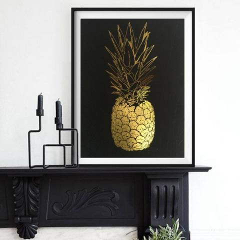 Hoxton Art House Golden Bottom Pineapple, Gold Leaf Paper Print, 30x42cm