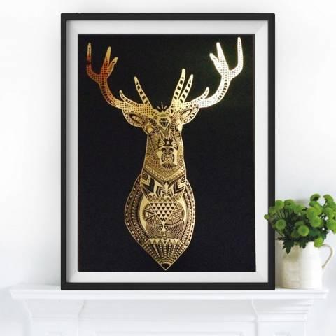 Hoxton Art House Golden Deer, Gold Leaf Paper Print, 30x42cm