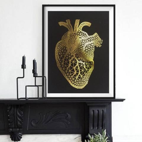 Hoxton Art House Golden Heart, Gold Leaf Paper Print, 30x42cm