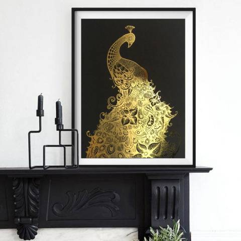 Hoxton Art House Golden Peacock, Gold Leaf Paper Print, 30x42cm