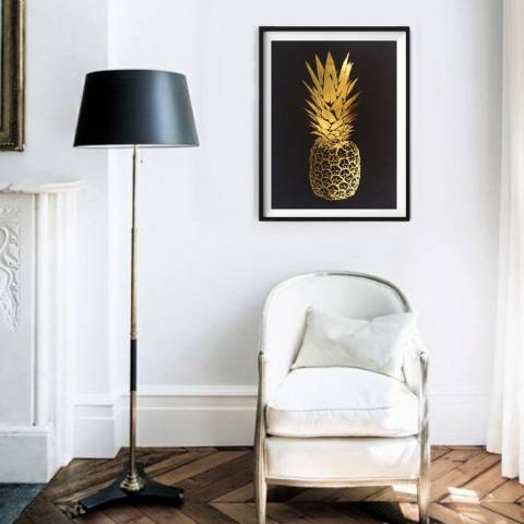 Hoxton Art House Golden Top Pineapple, Gold Leaf Paper Print, 30x42cm