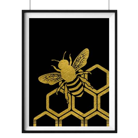 Hoxton Art House Honey Bee, Gold Leaf Paper Print, 30x42cm