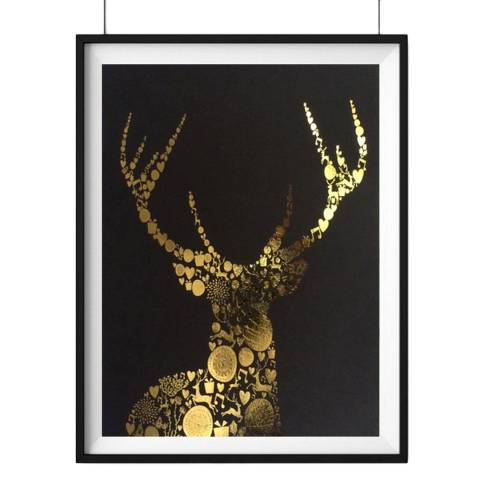 Hoxton Art House Love Stag, Gold Leaf Paper Print, 30x42cm