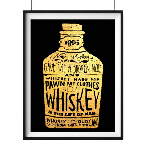 Hoxton Art House Whiskey, Gold Leaf Paper Print, 30x42cm