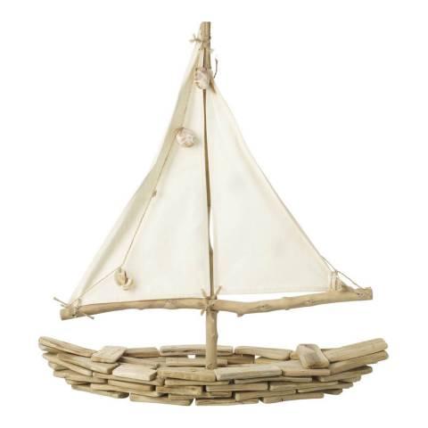 Parlane Natural Sailboat with Shells Ornament