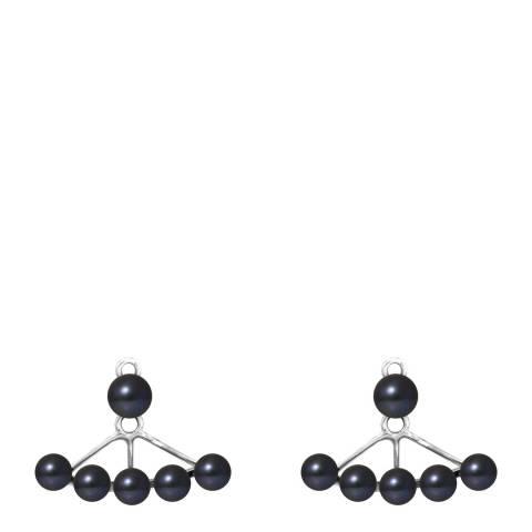 Mitzuko Black Tahitian Style Silver Freshwater Pearl Earrings