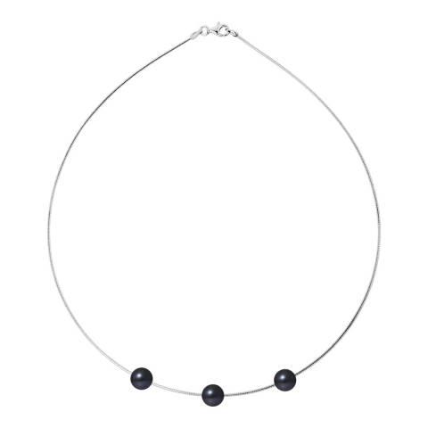 Mitzuko Black Tahiti Silver Freshwater Pearl Necklace