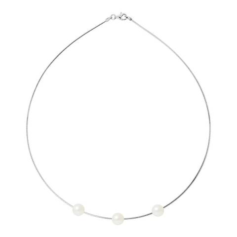 Mitzuko Natural White Silver Freshwater Pearl Necklace