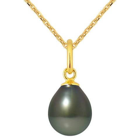 Mitzuko Black Tahiti Yellow Gold Pearl Pendant